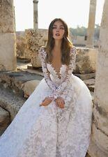 Wedding Dresses Long Sleeves V Neck Bridal Gowns Bride 2 4 6 8 10 12 14 16 18 20
