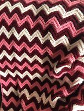 "Handmade Crochet Afghan Blanket Pink Burgundy Chevron Pattern  38"" x 50"""