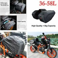 Motorcycle Pannier Bags Luggage Saddle Bag with Rain Cover Universal Black New