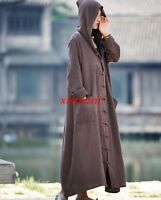 Vintage Ladies Linen Cotton Hoody Cape Trench Coat Loose Long Causal Robe JACKET