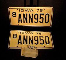 1975 IOWA LICENSE PLATES BOONE COUNTY MATCHING SET  8 ANN950