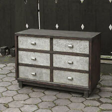 "42"" w Chest of Drawers hand hammered aluminum solid wood six drawer hand made"