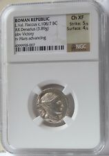 Roman Republic L. Val. Flaccus c.108/7 BC AR Denarius 3.89 Gr NGC Choice XF