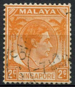 Singapore 1948-52 SG#2, 2c Orange KGVI P14 Used #A80525