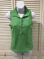 Lilly Pulitzer Green Sleeveless Polo Shirt Blouse Small