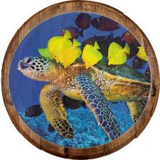 Whiskey Barrel Head Sea Turtle with School of Bright Fish in the Ocean Wall Art