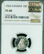 1962 CANADA 10 CENTS NGC PL68 PQ SOLO FINEST GRADE MAC SPOTLESS  *