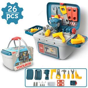 26Tlg. Kinder Werkzeugkoffer Spielzeug Handwerker Rollenspiel Werkzeugkasten Set