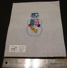 Hand painted Needlepoint Canvas Patriotic Snowman Painted Pony Designs 906 G