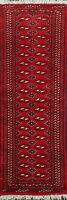 Geometric Bokhara Oriental Narrow Runner Rug Wool Traditional Hand-Knotted 2'x6'