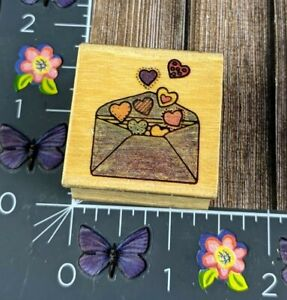 Envelope Full of Hearts Rubber Stamp Wood Mount Love Letter #J51