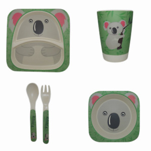 Eco-Friendly Reusable Kid's Australian Animal Print Bamboo Dinner Sets