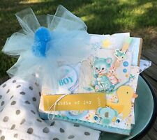 Handmade Baby boy Scrapbook paper bag Mini Album~