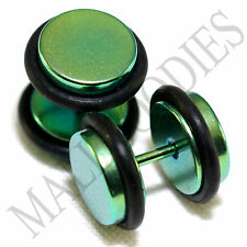 2106 Fake Cheater Illusion Faux Plugs 16G Surgical Steel 00G 10mm Green Large