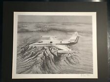 Rare Lear 23 Aviation Art. Signed by Artist. 1984 Limited Edition! 32/250