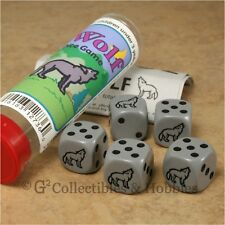 NEW Wolf Dice Game in Tube Amimal Family Travel Gray 6 Sided Gaming D6