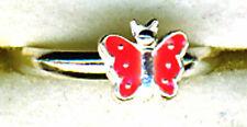 925 Sterling Silver Pink Enamel Butterfly Toe Ring   Adjustable