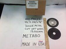 "100- METABO 4 1/2""x.040x7/8"" USA METAL SLICER WHEEL 15,000RPM STEEL/STAINLESS"