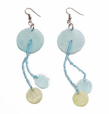 CHARMING ETHNIC TURQUOISE/GREEN DROP EARRINGS SUMMER ROUND NACRE BEADS (ZX29)