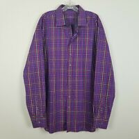 Bugatchi Uomo long sleeved purple plaid shaped fit men shirt size 3XL