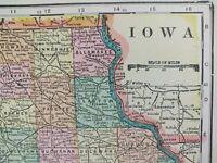 "Vintage 1901 IOWA Atlas Map 14""x11"" ~ Old Antique CEDAR RAPIDS DAVENPORT"