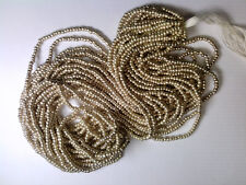 Vtg 1 HANK SILVER COAT OPAQUE SEED GLASS BEADS 10/0? 102718a