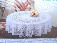 135 cm RUND Weiß Vinyl Tischdecke TISCHDECKE SCHUTZDECKE Blumenmuster NEU