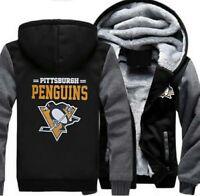 Pittsburgh Penguins Hoodie Winter Coat Thicken Zipper Jacket Sweatshirts Unisex