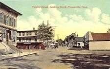 Forestville CT Central Square Store Fronts Looking North Postcard