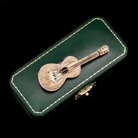 Antique Vintage Deco Mid Century Sterling Silver Mexican TAXCO Guitar Pin Brooch