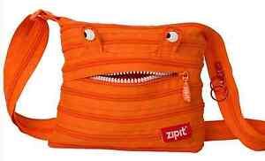 Shoulder Bag Mini Zipit® Monster Made from One Long Zipper -Orange
