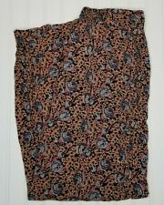 Angie Pants Palazzo Baggy Floral Boho Elastic Waist Two Pocket Rayon Size L