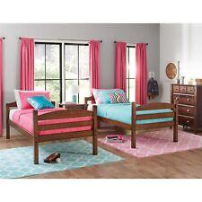 2 Twin Kids Beds Convertible Bunk Bed Top Rails Ladder Solid Cherry Wood Bedroom