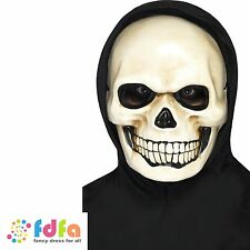 WHITE SKULL SKELETON HORROR PLASTIC MASK adult men halloween fancy dress costume