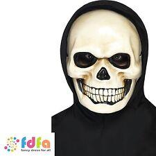WHITE SKULL SKELETON HORROR PLASTIC MASK adult men halloween fancy dress costume