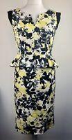Per Una M&S Floral Print Peplum Pencil Midi Dress Yellow Black White Size 12