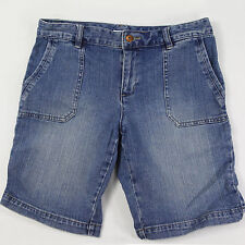 "Liz & Co STRETCH Women's 8 Petite Blue Bermuda Denim Jean Shorts Waist 30"" EUC"