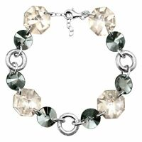 Crystaluxe Link Bracelet with Smokey Swarovski Crystals in Sterling Silver