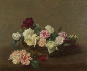 Henri Fantin Latour A Basket of Roses Giclee Art Paper Print Poster Reproduction