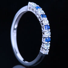 Full Cut Natural Diamonds Aquamarine Sapphires 10k White Gold Anniversary Ring