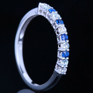 2/5CT Diamonds Aquamarine Sapphires Gemstone Wedding Ring Solid 10k White Gold