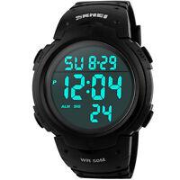 Wasserdicht Digital Led Alarm Kalender Uhr Sportuhr Herren Armbanduhr