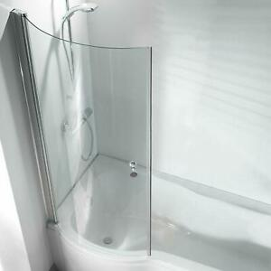 P Shape Curved Bathroom Pivot Glass Shower Bath Screen Hinged with Knob