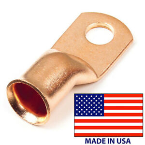 "(10) Copper Lug 2 AWG Gauge 3/8"" Ring Wire Terminal Battery Cable Connector USA"