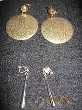 AWESOME LOT OF 2 Gold LARGE Round & Silver Long SLENDER Clip Earrings....#6202