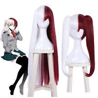 BNHA Academia Todoroki Shoto Genderbend Long Ponytails Red White Cosplay Wig