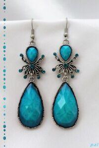 Boucles d'Oreilles Style Tibétain Araignée Nanga Perle Turquoise Argent du Tibet