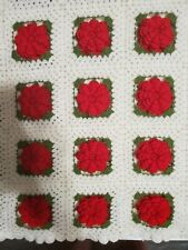 Unbranded Large Hand Knit Crochet 3D Effect Roses Scallop Edges Blanket