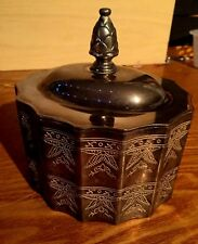 VINTAGE 1991 GODINGER SILVER PLATED VELVET LINED JEWELRY/TRINKET BOX WITH LID