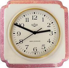 111001F Keramik Küchenuhr Artline weiß Pinkrand marmoriert handgemalt  Funkwerk